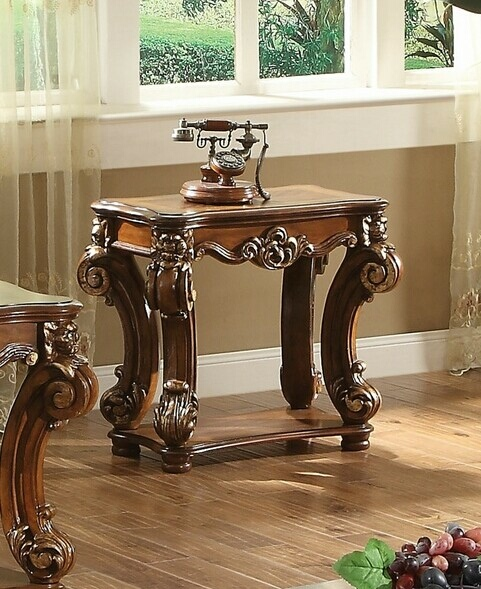 Acme 82003 Astoria grand welles vendome cherry finish wood carved accents end table