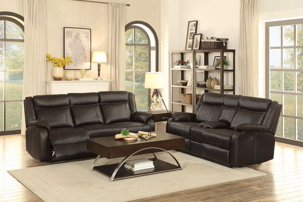 Homelegance 8201BLK-2pc 2 pc Jude black leather gel match double reclining sofa and love seat set