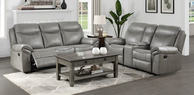 Homelegance 8206GRY-2pc 2 pc Aram gray breathable faux leather double reclining sofa and love seat set