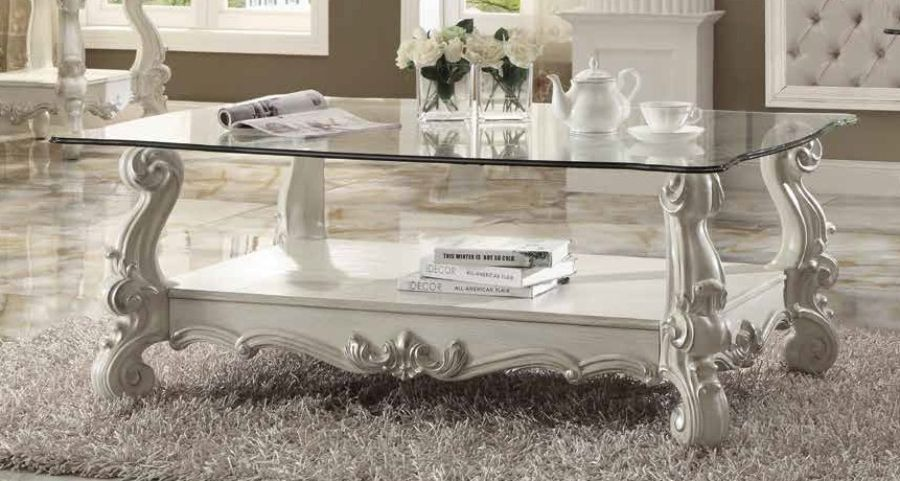 Acme 82103 Rosdorf park loden versailles bone white finish wood carved accents glass top coffee table