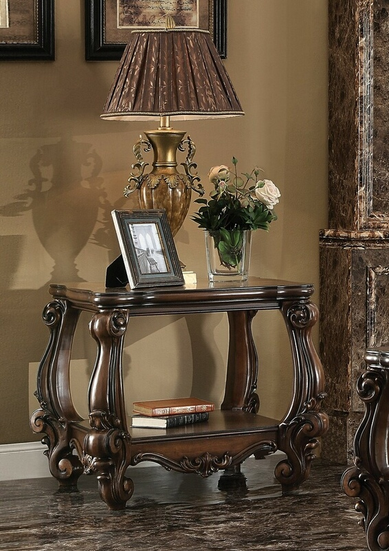 Acme 82121 Astoria grand ciaran versailles ii cherry oak finish wood carved accents chair side end table