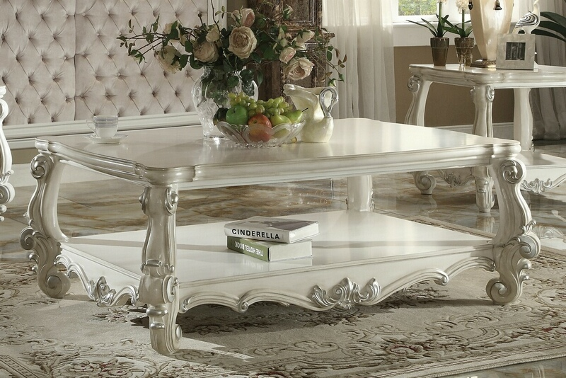 Acme 82123 Astorai grand pirro versailles ii bone white finish wood carved accents coffee table