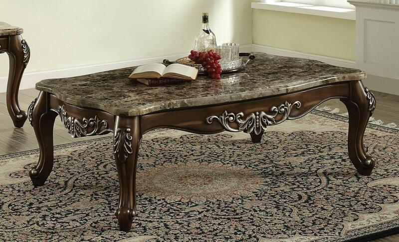 Acme 82145 Astoria grand mccloud latisha antique oak finish wood marble top coffee table
