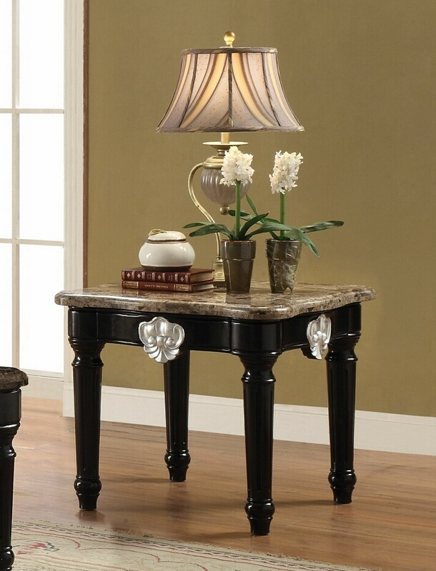 Acme 82152 Astoria grand mcclellan ernestine black finish wood marble top chair side end table