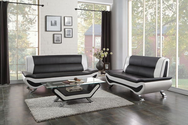 Home Elegance 8219-2pc 2 pc veloce collection black and ivory vinyl upholstered sofa and love seat set with chrome legs