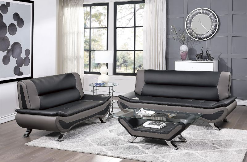 8219BLK-2pc 2 pc veloce black and grey faux leather sofa and love seat set with chrome legs