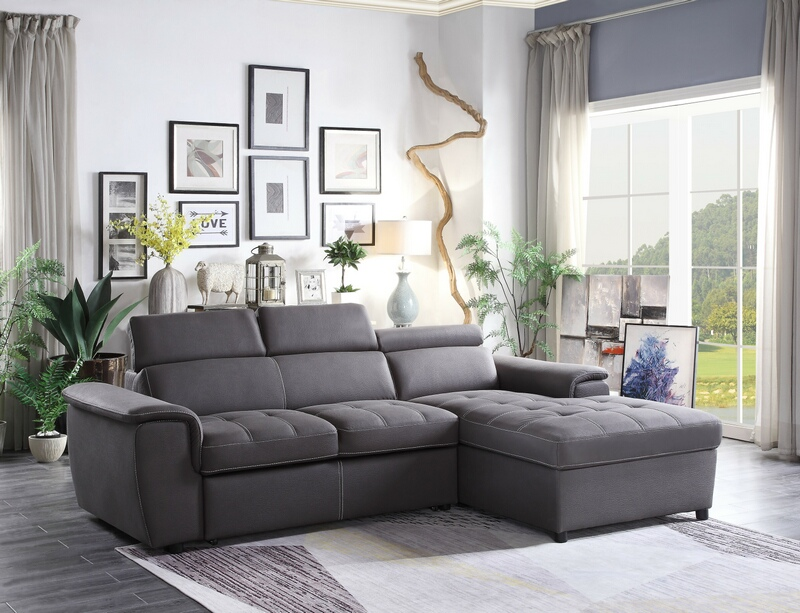 Home Elegance 8228GY-2pc 2 pc ferriday gray textured fabric storage sectional with pull out bed lounger area