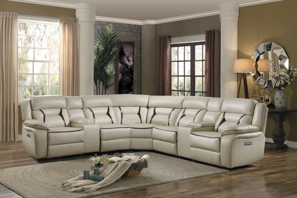 Homelegance 8229BG-7PC 7 pc Amite beige leather gel match sectional sofa with power recliners