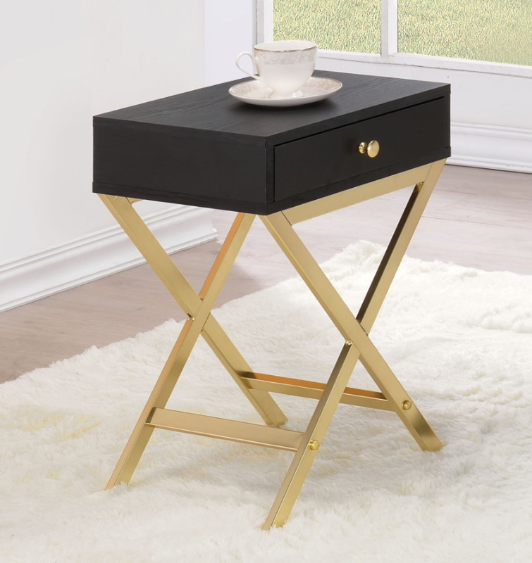 Acme 82296 Ivy bronx durlston coleen black finish wood brass finish frame side table