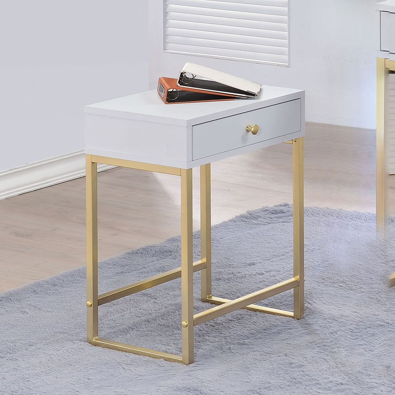 Acme 82298 Willa arlo interiors dayne thynes coleen white finish wood brass finish frame side table