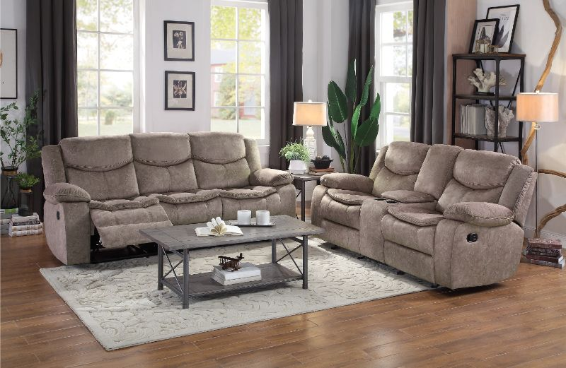 Homelegance HE-8230FBR2pc 2 pc Bastrop brown fabric motion sofa and love seat set