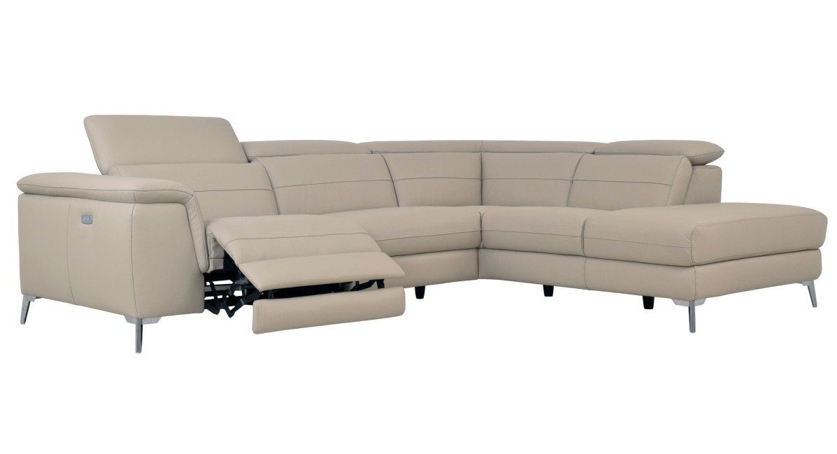 Homelegance 8256 2 pc Cinque taupe top grain leather sectional sofa with power reclining foot rest and chaise