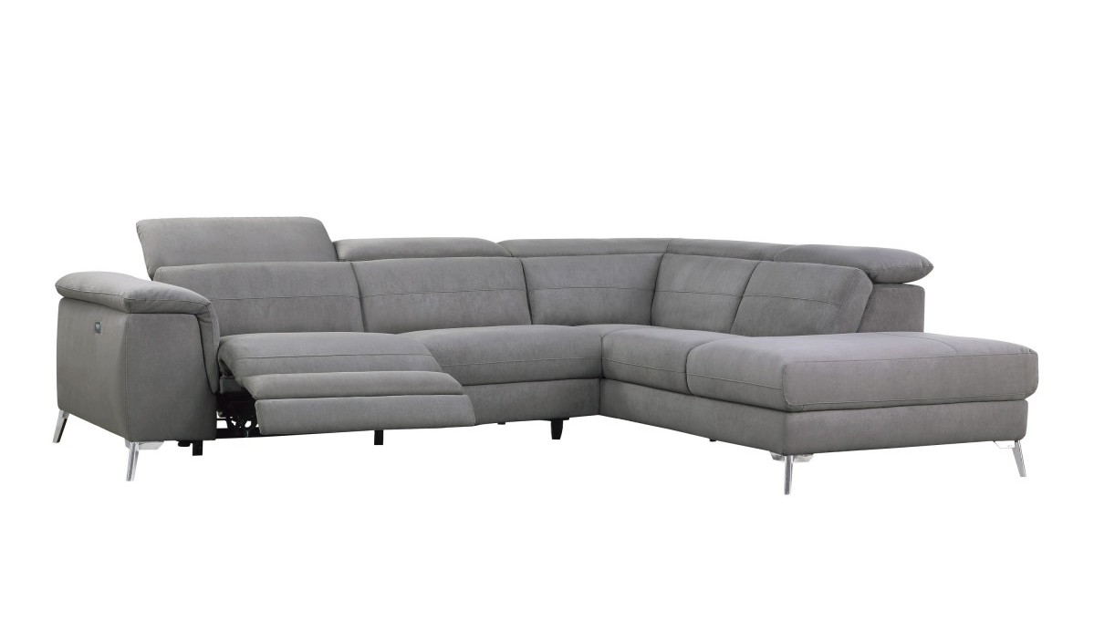 Homelegance 8256FBR 2 pc Cinque gray textured fabric sectional sofa with power reclining foot rest and chaise