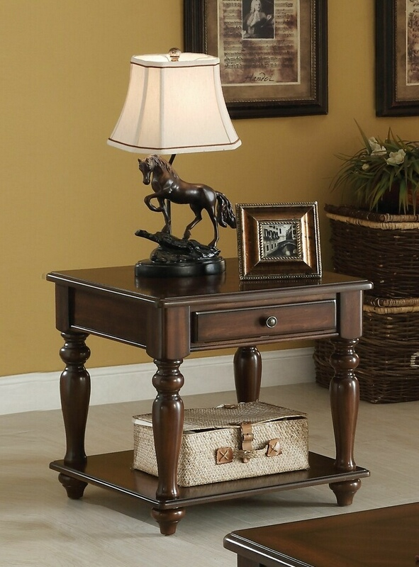 Acme 82746 A&J homes studio farrel walnut finish wood end table with drawer
