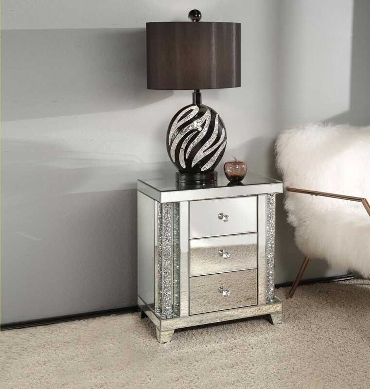 Acme 82779 Rosdorf park shelbyville glam noralie mirrored and faux diamonds inlay nightstand bed side end table