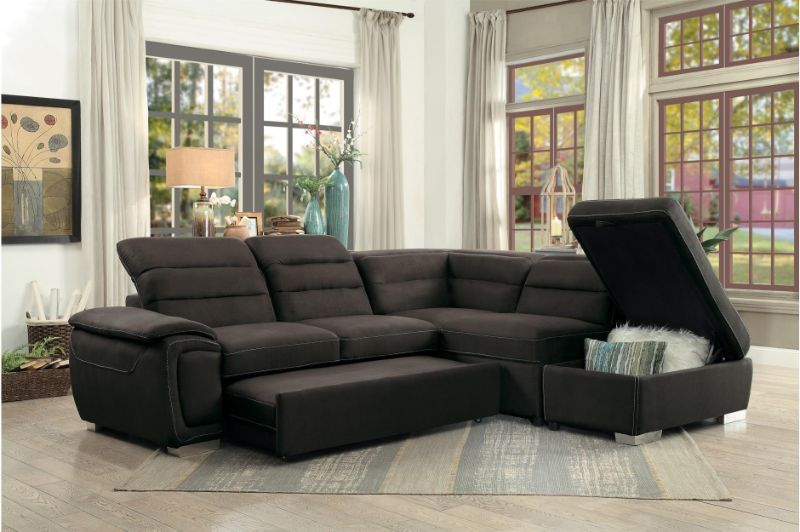 HE-8277CH 3 pc Platina chocolate fabric sectional sofa set with pull out sleep area
