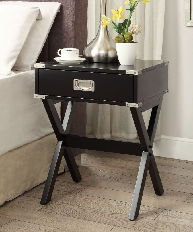 Acme 82822 Ivy bronx durlston babs black finish wood side end table