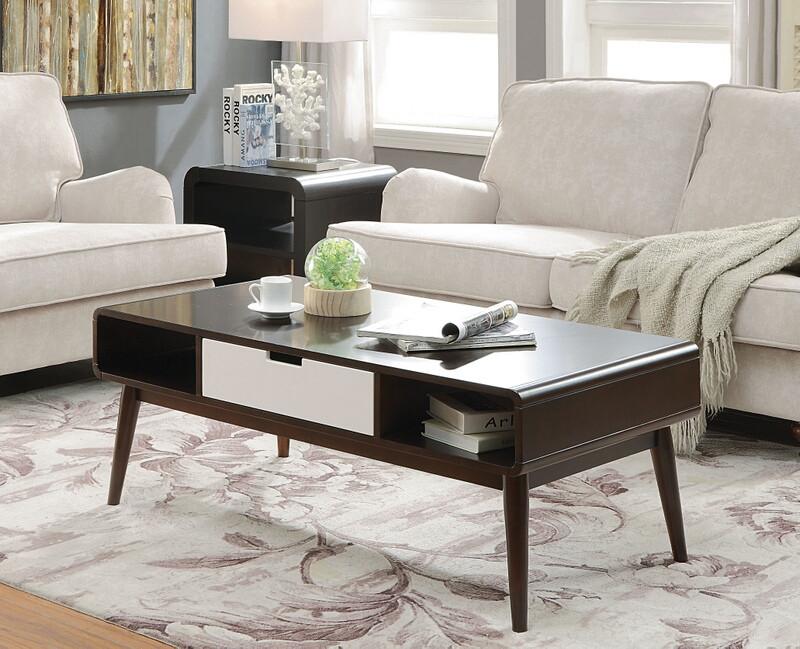 Acme 82850 Brayden studio lords christa espresso / white finish wood coffee table
