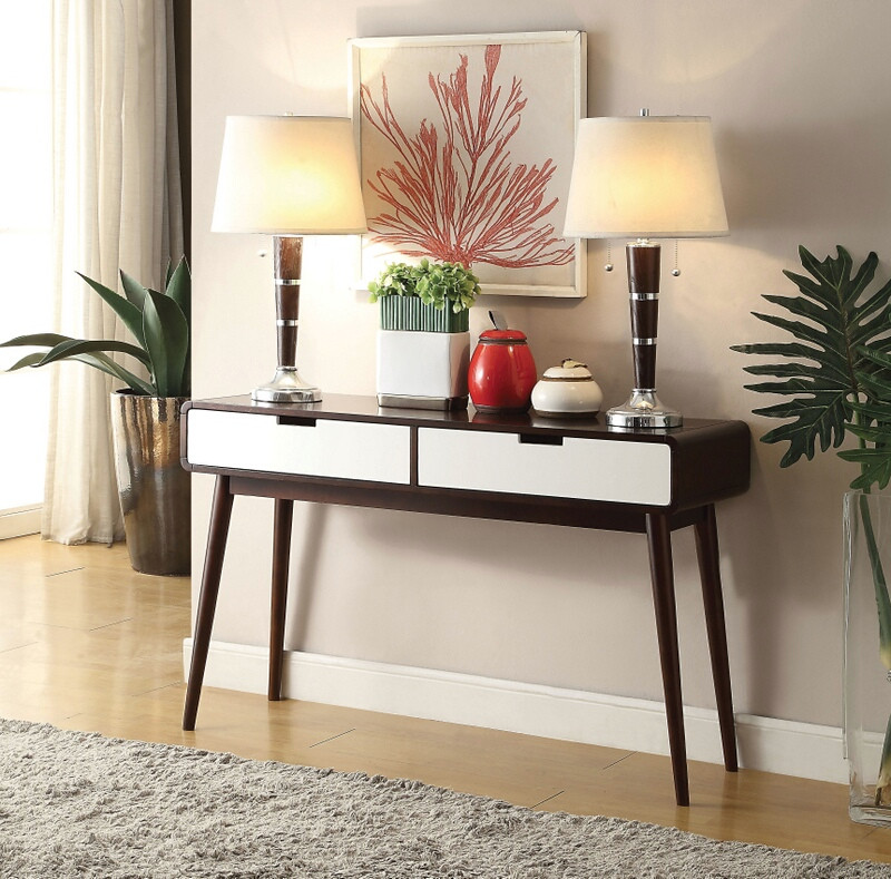 Acme 82854 Brayden studio lords christa espresso / white finish wood sofa console entry table