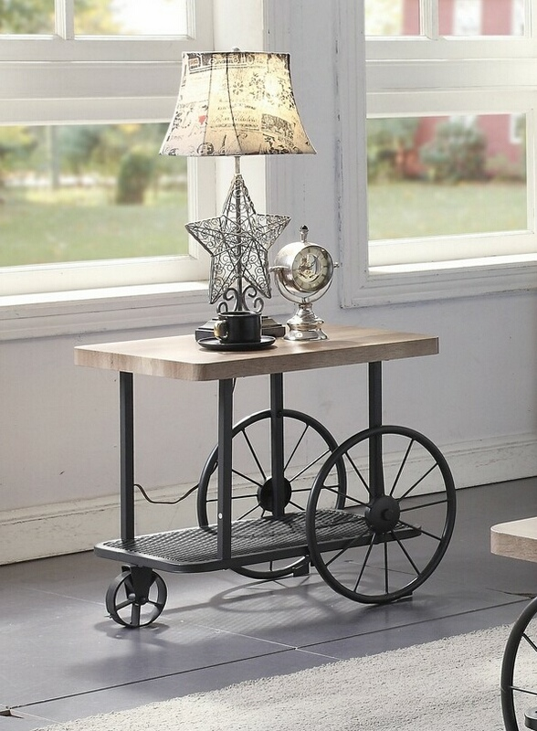 Acme 82862 17 stories gambier francie oak finish wood antique gray metal frame chair side end table