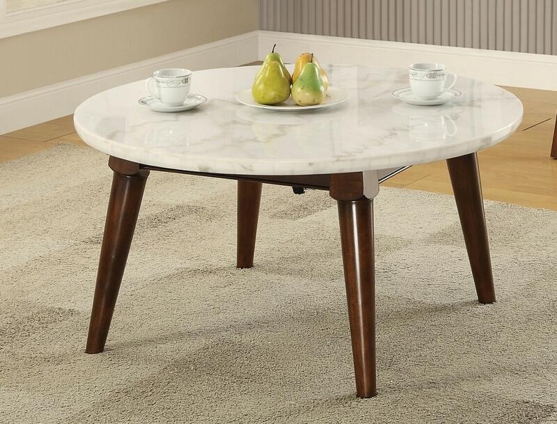Acme 82890 Wrought studio asuncion gasha walnut finish wood white marble top round coffee table