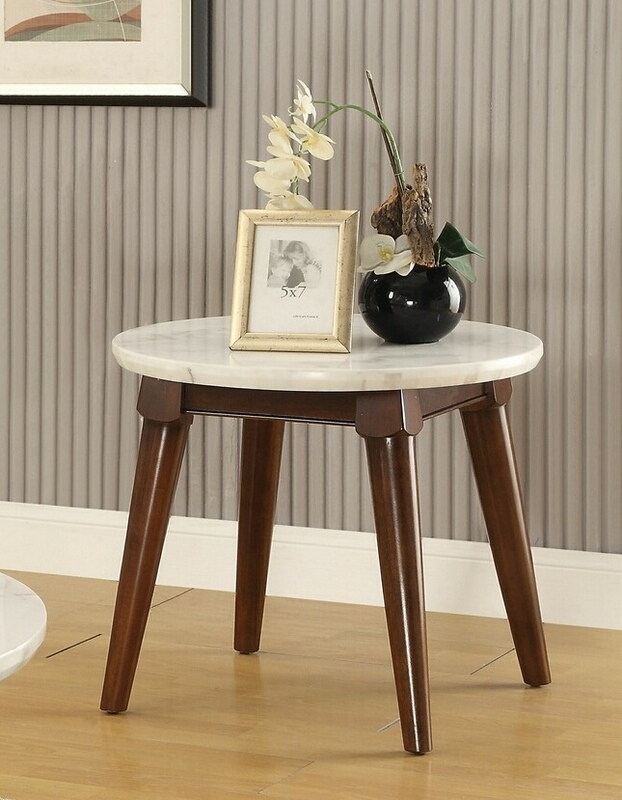 Acme 82892 Wrought studio asuncion gasha walnut finish wood white marble top round chair side end table