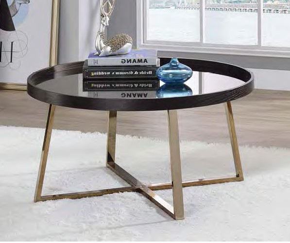 Acme 82945 Wrought studio bock hepton walnut finish top champagne finish frame round coffee table