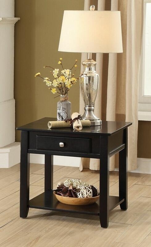 Acme 82952 Winston porter laverly malachi black finish wood chair side end table