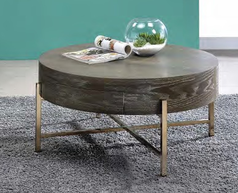 Acme 82955 Foundry select cerie weyton dark oak finish wood top champagne metal frame round coffee table