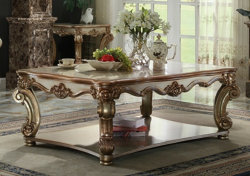 Acme 83000 Astoria grand welles vendome gold patina finish wood carved accents coffee table