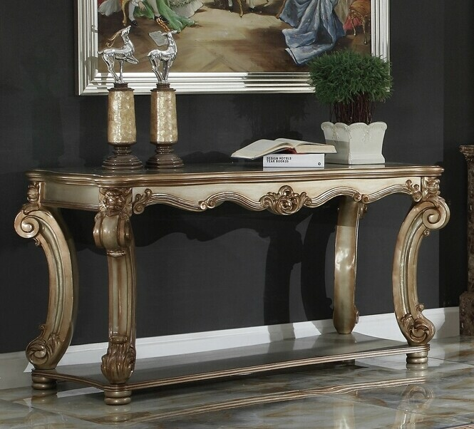 Acme 83002 Astoria grand welles vendome gold patina finish wood carved accents sofa entry console table