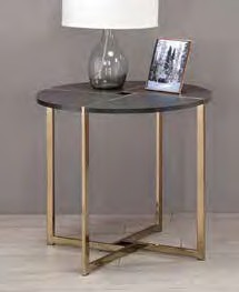 Acme 83007 Foundry select cerie bromia black finish wood top champagne metal frame round end table