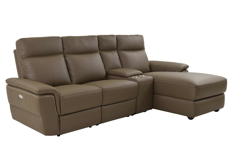 Homelegance 8308-4pcRAC 4 pc olympia II ultra modern style raisin color top grain leather power motion sectional sofa