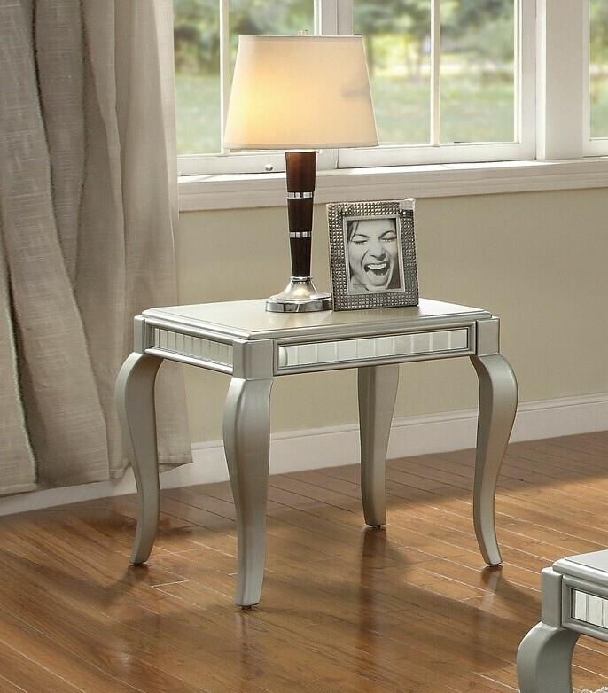 Acme 83082 Rosdorf park cranleigh francesca champagne finish wood / mirror chair side end table