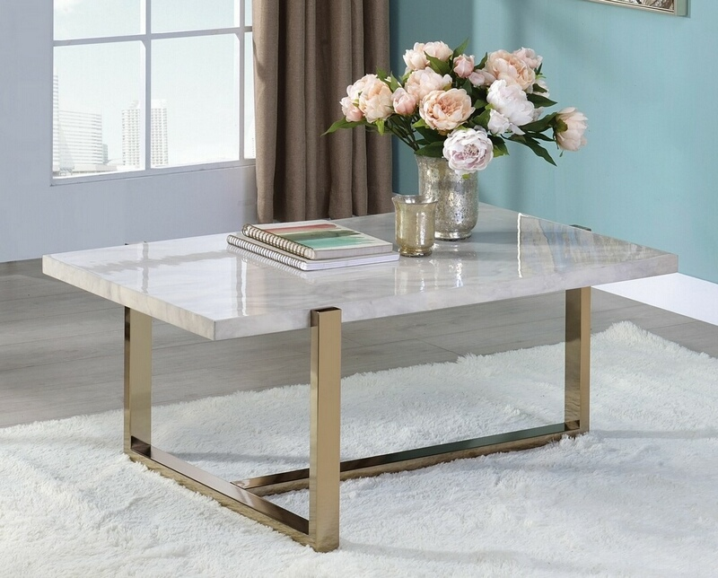 Acme 83105 Everly quinn edwin feit faux marble champagne finish frame coffee table