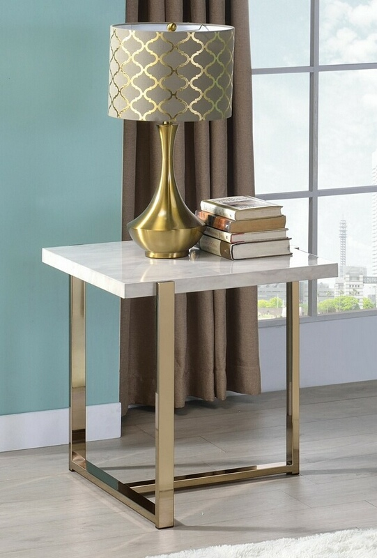 Acme 83107 Everly quinn edwin feit faux marble champagne finish frame chair side end table