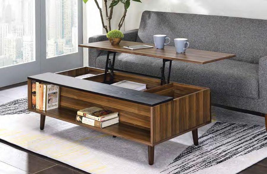 Acme 83140 Latitude run avala walnut finish wood mid century modern lift top coffee table