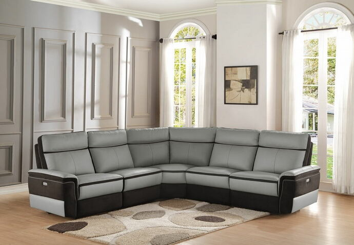 5 pc laertes collection two tone grey top grain leather and darker tone fabric upholstered power reclining sectional sofa