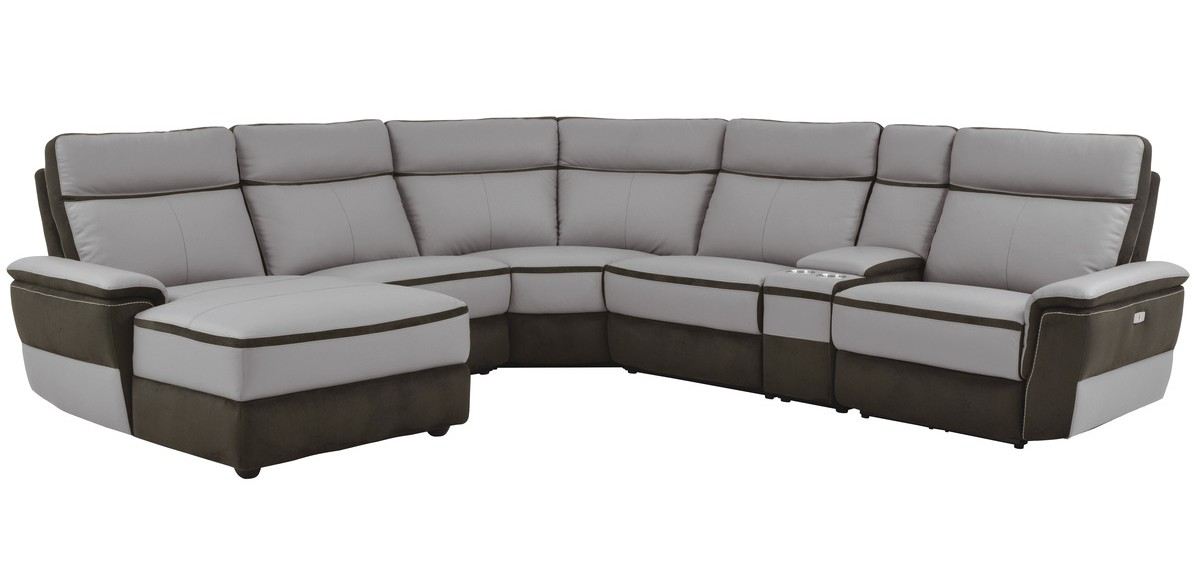 Homelegance 8318-6pcLAC 6 pc laertes II two tone grey top grain leather and darker tone fabric power reclining sectional sofa