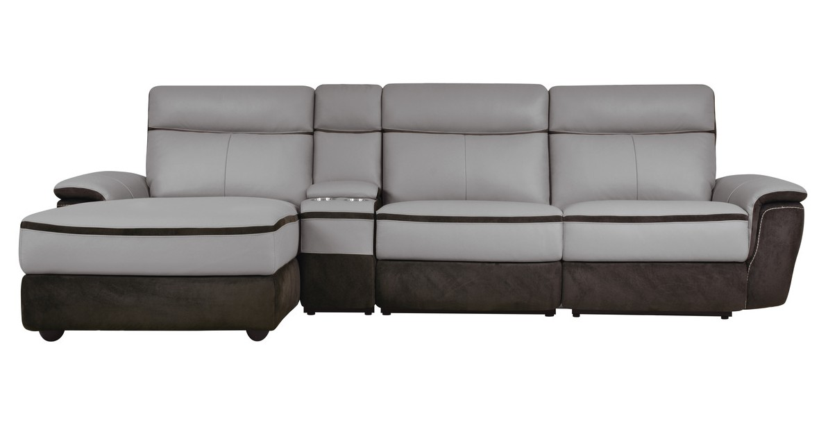 Homelegance 8318-4pcLAC 4 pc laertes two tone grey top grain leather and darker tone fabric power reclining sectional sofa