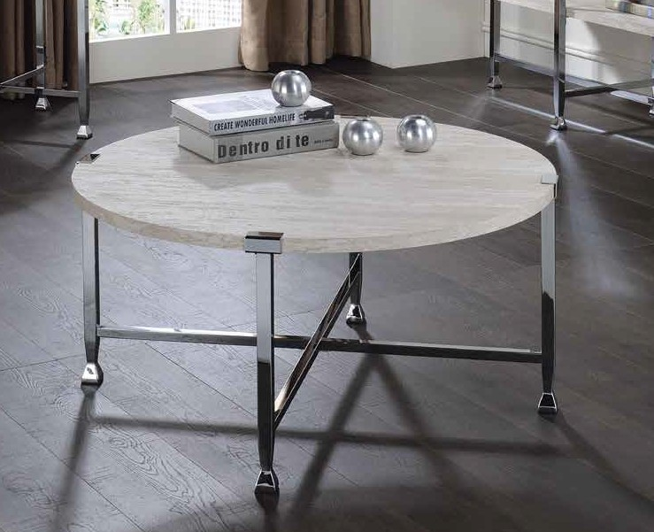 Acme 83210 Foundry select cerie brecon white oak finish wood top chrome metal frame round coffee table