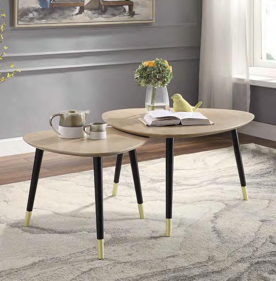 Acme 83230 2 pc Orren ellis murtaz allison mid century modern natural and black finish wood nesting coffee table set