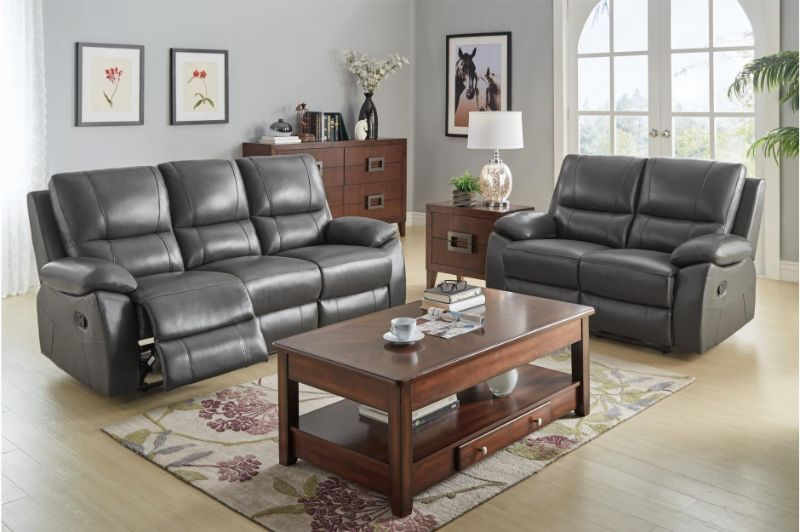 HE-8325GRY-2PC 2 pc Greeley gray top grain leather motion sofa and love seat set