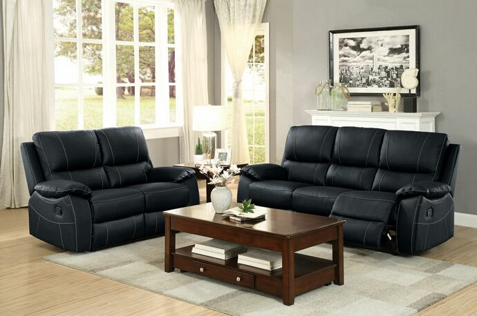 Homelegance 8325BLK-SL 2 pc greeley contemporary style black top grain leather match motion sofa and love seat set