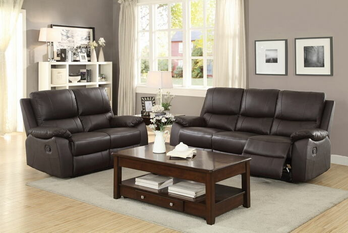 2 pc greeley collection contemporary style brown top grain leather match motion sofa and love seat set