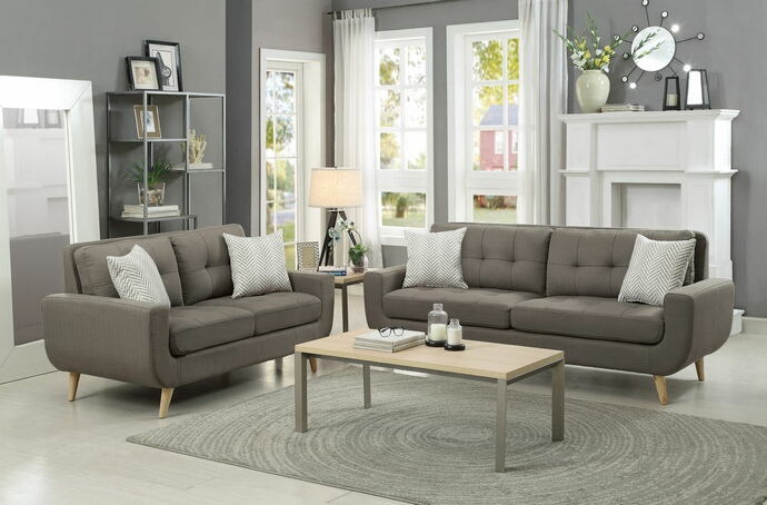 2 pc deryn collection grey fabric upholstered sofa and love seat set with curved arms