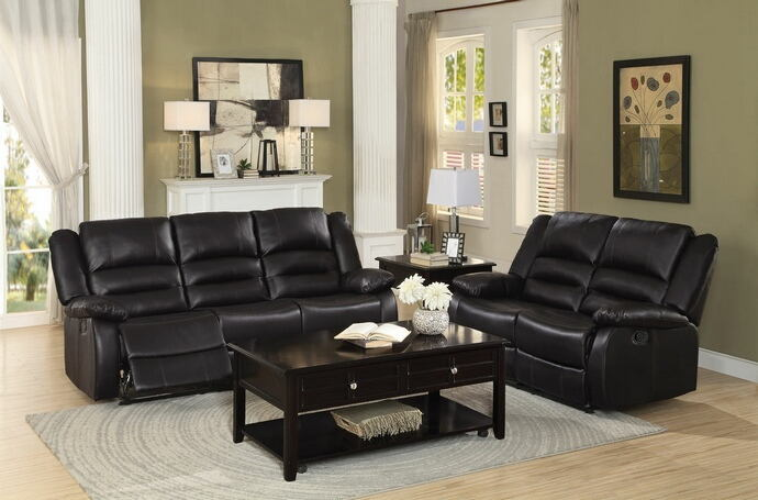 2 pc jarita collection brown bi cast vinyl upholstered sofa and love seat with recliner ends