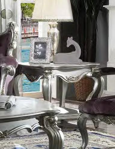Acme 83467 Rosdorf park severine picardy antique platinum finish wood carved accents end table