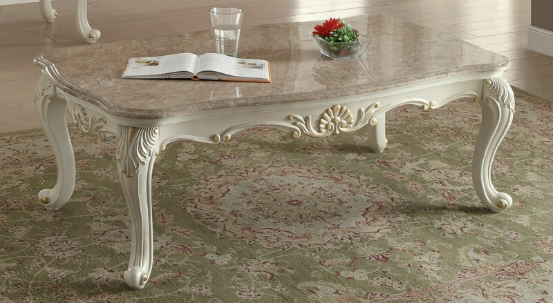 Acme 83540 Astoria grand pouncy chantelle pearl white finish wood marble top coffee table