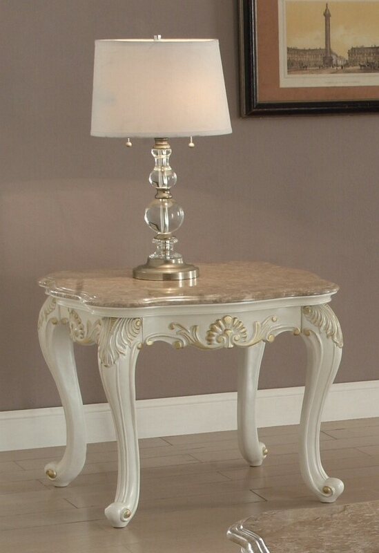 Acme 83542 Astoria grand pouncy chantelle pearl white finish wood marble top chair side end table